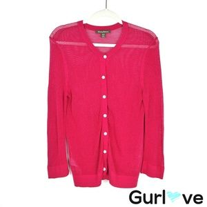 Tommy Bahama Fuchsia Knit Button Cardigan Size M